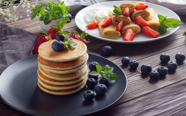 Food Pancake Strawberry Blueberry Berry Fruit Crêpe Breakfast Still Life HD Wallpaper | Background Image