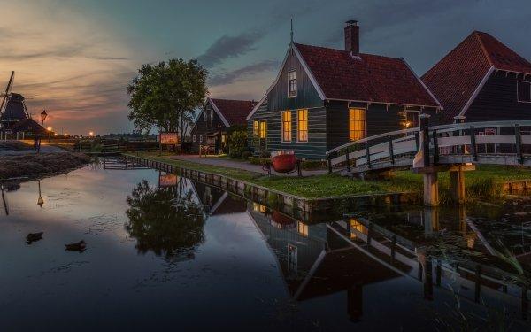Man Made Village Windmill Museum Netherlands HD Wallpaper | Background Image