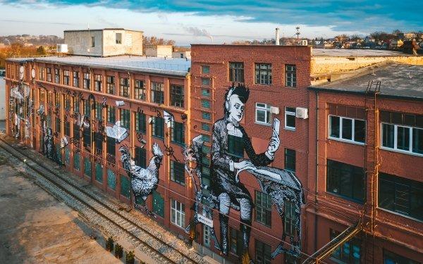 Man Made Building Buildings Lithuania Kaunas Graffiti HD Wallpaper | Background Image