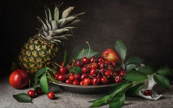 Food Fruit Fruits Pineapple Cherry Nectarine HD Wallpaper   Background Image