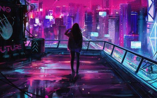 Sci Fi Women Cyberpunk Cityscape HD Wallpaper | Background Image