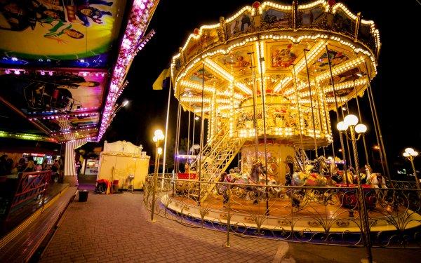 Man Made Carousel Amusement Park HD Wallpaper | Background Image