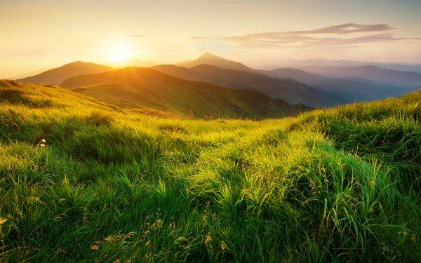 Earth Landscape Field Mountain Sun Dawn Grass HD Wallpaper   Background Image