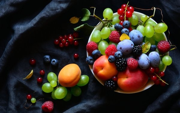 Food Still Life Grapes Raspberry Blueberry Plum Blackberry Currants Nectarine Apricot HD Wallpaper   Background Image