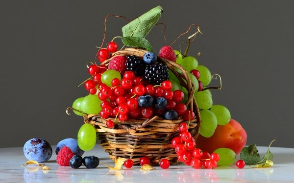 Food Still Life Grapes Raspberry Plum Blueberry Currants HD Wallpaper   Background Image