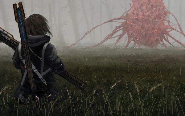 Anime Original Girl Creature Weapon Black Hair HD Wallpaper   Background Image
