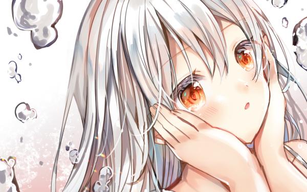 Anime Original Bubble White Hair Orange Eyes HD Wallpaper   Background Image