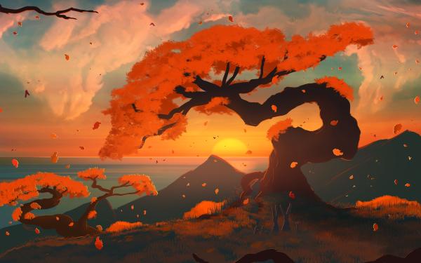 Artistic Tree Mountain Sunset HD Wallpaper   Background Image