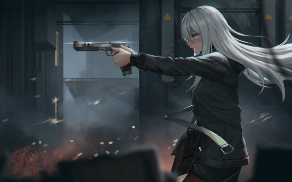Anime Original White Hair Long Hair Gun Blue Eyes HD Wallpaper | Background Image