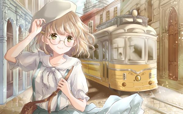 Anime Original Tram Glasses Hat HD Wallpaper | Background Image