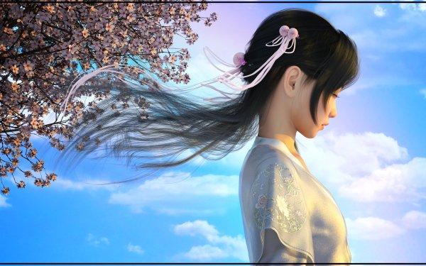 Women Artistic Sakura Sky HD Wallpaper | Background Image