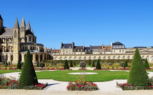 Religious Abbey France Monastery Abbaye aux Hommes St Stephen's Church HD Wallpaper | Background Image