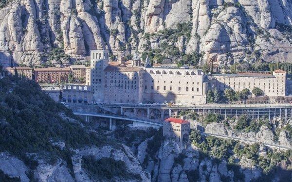 Religious Abbey Mountain Rock Spain Catalonia Monastery Santa Maria de Montserrat Abbey HD Wallpaper | Background Image