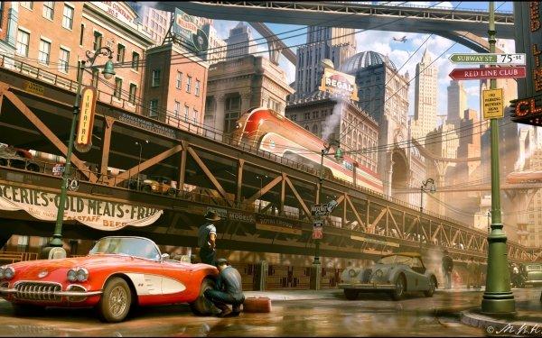 Sci Fi Dieselpunk Futuristic City Train Car HD Wallpaper | Background Image