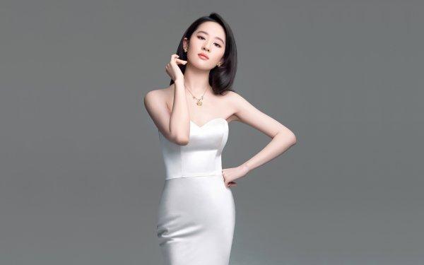 Women Asian Model White Dress Black Hair Liu Yifei HD Wallpaper   Background Image
