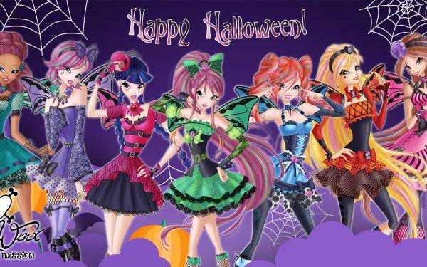 TV Show Winx Club Halloween Happy Halloween Bloom Roxy Stella Aisha Musa Tecna Flora Pumpkin Fairy Wings Two-Toned Hair HD Wallpaper | Background Image