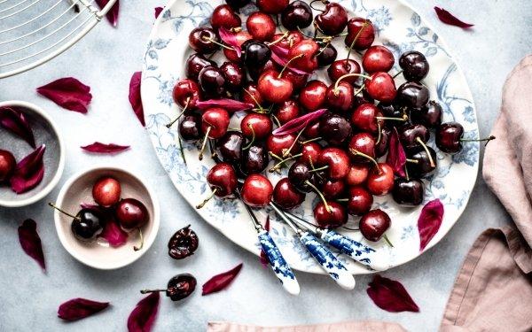 Alimento Cereza Frutas Baya Plate Fondo de pantalla HD | Fondo de Escritorio