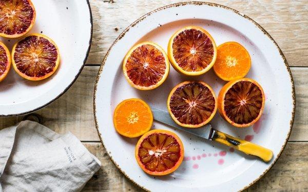 Food Orange Fruits Mandarin orange Plate Knife Fruit HD Wallpaper | Background Image
