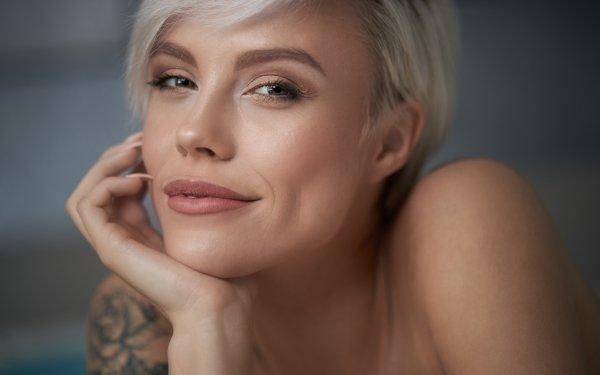 Women Blonde Face Tattoo Smile HD Wallpaper   Background Image