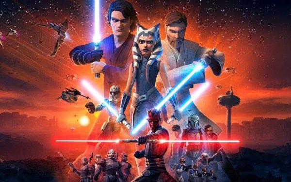 TV Show Star Wars: The Clone Wars Star Wars Anakin Skywalker Obi-Wan Kenobi Ahsoka Tano Darth Maul Lightsaber HD Wallpaper | Background Image