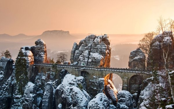 Man Made Bridge Bridges Germany Saxony Bastei Bridge Elbe Sandstone Mountains Mountain Rock HD Wallpaper   Background Image