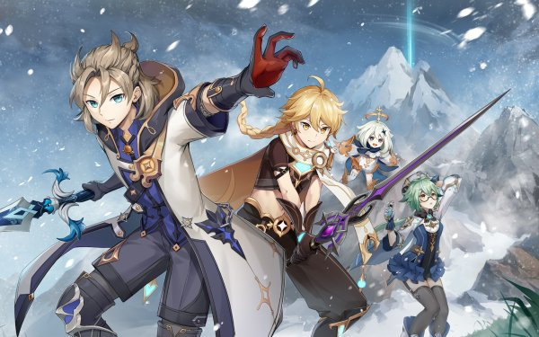 Videospel Genshin Impact Aether Albedo Paimon Sucrose HD Wallpaper   Achtergrond