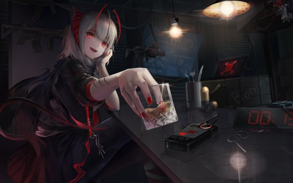 Video Game Arknights W White Hair Red Eyes HD Wallpaper | Background Image