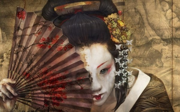 Fantasy Geisha Face Makeup Fan HD Wallpaper | Background Image