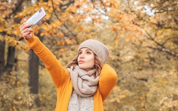 Women Model Models Woman Girl Hat Scarf Selfie Depth Of Field Smartphone HD Wallpaper | Background Image