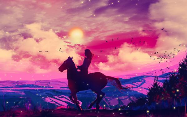 Artistic Sunset Horse Sky HD Wallpaper | Background Image