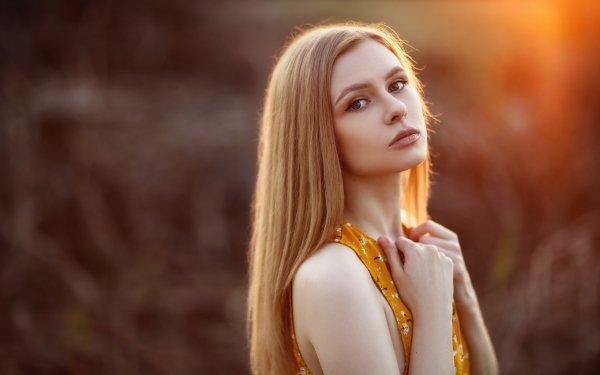 Women Model Models Blonde Long Hair Depth Of Field HD Wallpaper | Background Image