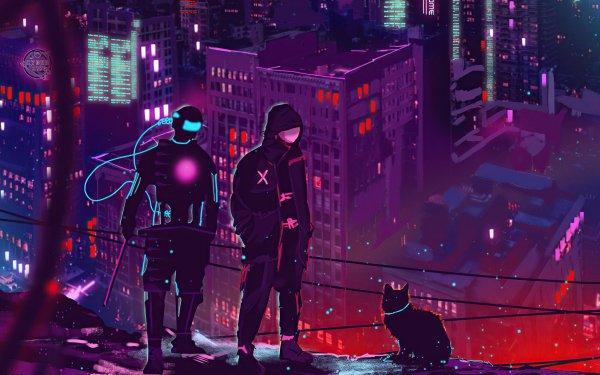 Sci Fi Cyberpunk Futuristic Cat HD Wallpaper | Background Image