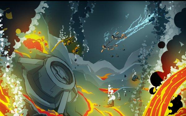 TV Show Final Space Gary Goodspeed Quinn Airgon Underwater Lava HD Wallpaper | Background Image