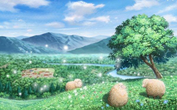 Anime Landscape Sheep HD Wallpaper   Background Image