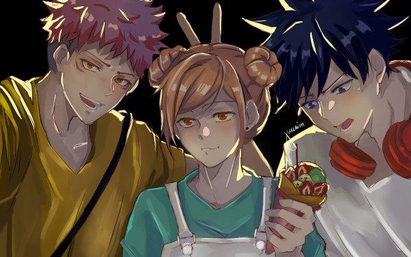 Anime Jujutsu Kaisen Yuji Itadori Megumi Fushiguro Nobara Kugisaki Pink Hair Brown Hair Black Hair Brown Eyes Blue Eyes Crêpe Boy Girl HD Wallpaper | Background Image