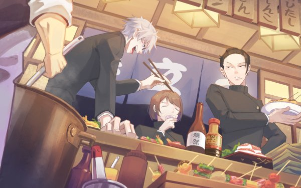 Anime Jujutsu Kaisen Satoru Gojo Suguru Geto Shoko Ieiri White Hair Black Hair Blue Eyes Brown Hair School Uniform HD Wallpaper | Background Image