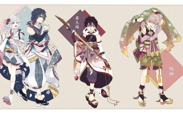 Anime Kemono Jihen Akira Sandal Feet Black Hair Socks Kimono Kabane Kusaka Shiki Tademaru Red Eyes Blue Eyes HD Wallpaper | Background Image