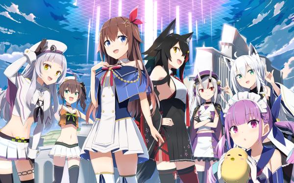 Anime Crossover Azur Lane Hololive Tokino Sora Nakiri Ayame Minato Aqua Natsuiro Matsuri Shirakami Fubuki Murasaki Shion Ookami Mio HD Wallpaper | Background Image