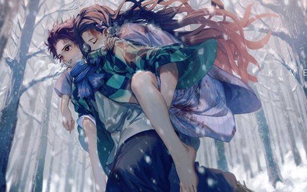 Anime Demon Slayer: Kimetsu no Yaiba Nezuko Kamado Tanjiro Kamado HD Wallpaper   Background Image