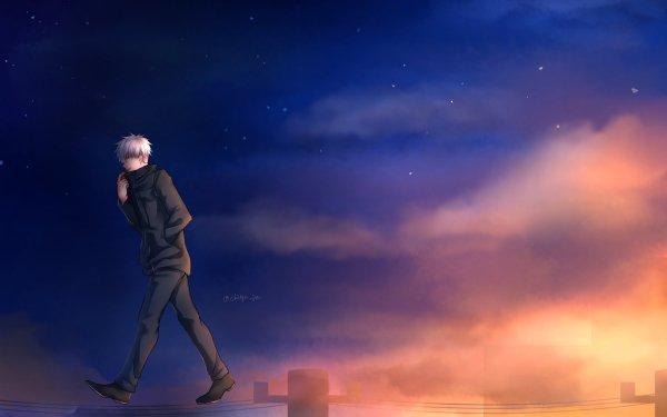 Anime Jujutsu Kaisen Satoru Gojo White Hair School Uniform HD Wallpaper   Background Image