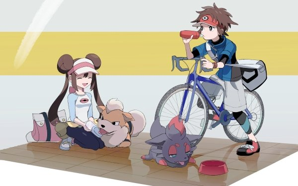 Videojuego Pokemon: Black and White 2 Pokémon Growlithe Nate Zorua Bike Chico Chica Rosa Brown Hair Drinking Fondo de pantalla HD | Fondo de Escritorio