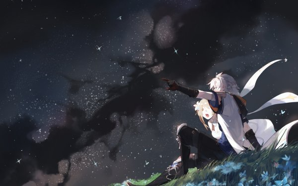 Videospel Genshin Impact Albedo Lumine HD Wallpaper   Achtergrond