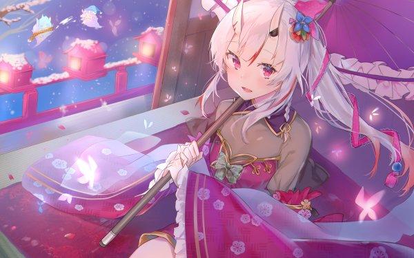 Anime Virtual Youtuber Hololive Nakiri Ayame White Hair Pink Eyes Horns HD Wallpaper   Background Image