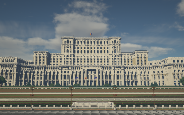 Video Game Minecraft Parliament Palace Romania HD Wallpaper   Background Image