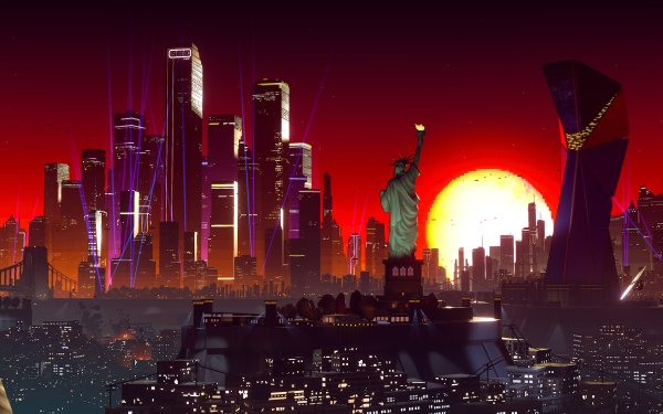 Video Game Due Process City Statue of Liberty HD Wallpaper | Background Image