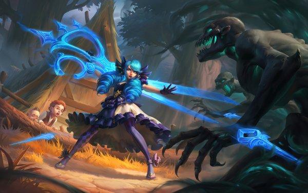 Video Game League Of Legends Gwen Girl Blue Hair Creature HD Wallpaper | Background Image