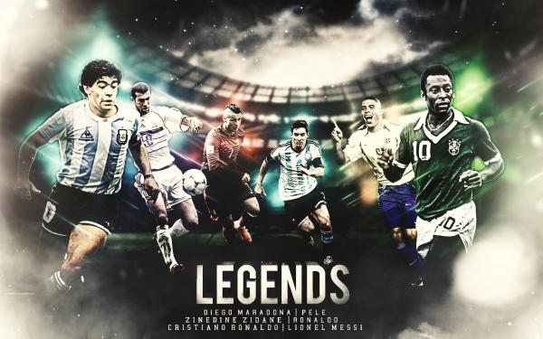 Sports Soccer Pele Diego Maradona Cristiano Ronaldo Lionel Messi Zinedine Zidane HD Wallpaper | Background Image
