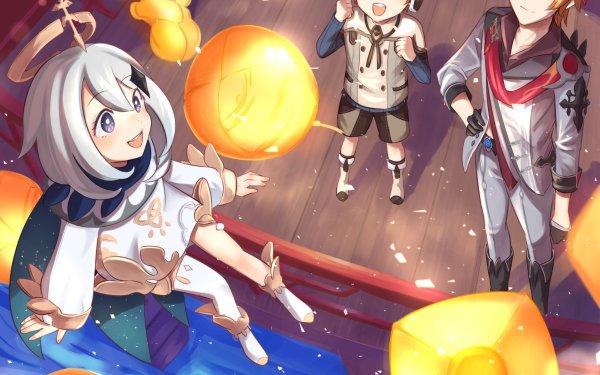 Videospel Genshin Impact Paimon Tartaglia Childe Teucer HD Wallpaper | Achtergrond