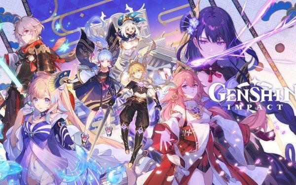 Video Game Genshin Impact Aether Kaedehara Kazuha Kamisato Ayaka Paimon Baal Raiden Shogun Sangonomiya Kokomi Yae Miko Guuji HD Wallpaper | Background Image
