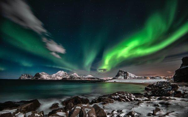 Earth Aurora Borealis Night Fjord HD Wallpaper   Background Image